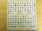 Small Coloured Sticky Letters or Numbers Stickers Colourful Labels for Craft