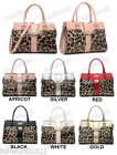 APRICOT PINK RED BLACK WHITE Patent Leather Leopard Print Shoulder Bag #782