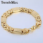 11MM Mens Chain Carved Flat Byzantine Link Gold Tone Stainless Steel Bracelet