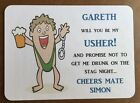 THANK YOU USHER, Bestman Personalised card, humorous ,wedding gift card, request