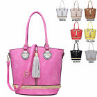 Ladies Faux Leather Tassel Handbag Shoulder Bag Slouch Bag Top Handle M34151