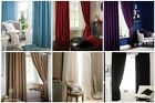 Catherine Lansfield Plain Faux Silk Lined Eyelet Headed Curtains