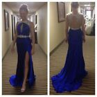Royal Blue Satin Sequins Cocktail Party Dress Sleeveless Formal Party Dress