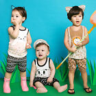 "Vaenait Baby Toddler Kids Girls Boys Sleeveless Outfit set ""Super Animal"" 12M-7T"