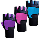 Ladies Leather Weight Lifting Gloves Gym Exercise Body Building Long Straps S-M