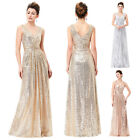 Womens Bridesmaid Long Wedding Formal Party Evening Cocktail Sequins Maxi Dress