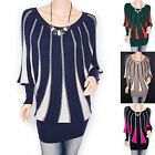 Free Necklace Knit Ribbed Stripes Long Sleeves Tunic Sweater Top