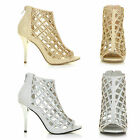 womens ladies caged diamante stiletto peep prom wedding ankle boots shoes size