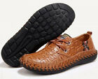 Mens Casual Lace Up Flat Comfort Shoes Crocodile Pattern Walking Driving Dress