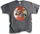 Last Stop V8 Hot Rod Roadster Motor Body Repairs Mens Charcoal T Shirt Sm - 2XL