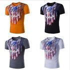 New American Flag Skull Graffiti Print Cotton Adult Men T-Shirt Fitted Tops Tee