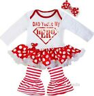 Baby Sparkle Dad You're My Hero Red Polka Dots Bodysuit Tutu Pants Outfit