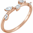 Genuine 1/3 ctw Marquise Diamonds Leaf Design Ring 14K Yellow,  White, Rose Gold