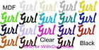 Coloured Acrylic GIRL Sign Pick from 4 Sizes from 18 Colours & 0 1 OR 2 Holes