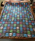 "EX- LONG /LARGE HANDMADE FLEECE TIED THROW / BLANKET 57"" X 72"" PATTERNED SKULLS"