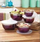 10-Pc Stainless Steel Food Storage Serve Store Containers Mixing Bowls - Purple