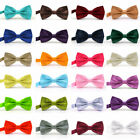 Mens Silk Satin Bow Tie Solid Colour Pre Tied Bow Tie Necktie Tuxedo Wedding