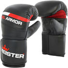 MEISTER GEL ARMOR LEATHER BAG MITTS - Boxing Gloves Heavy Focus MMA Muay Thai BK