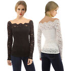 Womens Long Sleeve A Word Collar Off Shoulder Lace Floral Loose Blouse Tube Top