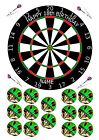 """DART BOARD 7.5"""" ROUND CAKE TOPPER WITH CUPCAKE TOPPERS ICING WAFER RICE"""