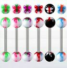 Surgical Steel Tongue Bars with Butterfly Balls in 1.6mm x 16mm Barbells Nipple
