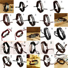 Vintage Multilayer Leather Cross Bracelet Cuff Charm Bangle For Men Women Chic