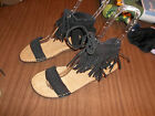 NWOB Black Suede MINNETONKA Ankle Strap Sandals 5 6 7