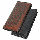 Men's real Genuine Leather Long bifold big Wallet ID credit card holder