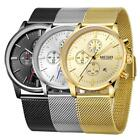 MEGIR Men's Chronograph Quartz Watch Stainless Steel Mesh Band Wristwatch A2Q5