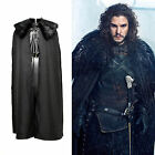 DHL ship Game of Thrones Jon Snow Costume Cosplay Outfit Cloak Fur Collar Black
