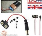 9V PP3 Battery Box Connector to DC Male Power Plugs 60mm Leads clip pack LR61 UK