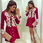 Fashion Women Summer Lace Long Sleeve Evening Party Cocktail Short Mini Dress