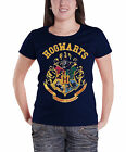 Harry Potter T Shirt Hogwarts Crest Official Womens New Blue Skinny Fit