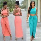 Two Piece Womens Crop Top and Skirt Set Sexy Summer Bandage Bodycon Party Dress