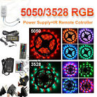 RGB SMD 3528 5050 Flexible LED Strip Light +IR Remote +Power Adapter 300/600LED