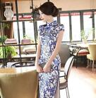 Chinese Traditiona Blue and white Long Cheongsam Qipao Evening Dresses Clothes