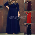 Women's V Neck Three Quarter Sleeve Plus Size Party Long Maxi Dress Solid Color