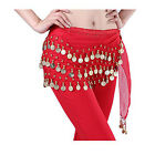Belly Dance Hip Skirt Scarf Wrap Belt Hipscarf With Gold Coins US Seller