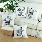 Set of 4 CaliTime Pillows Shell Cushion Covers Combo Set Mermaid Printed 45x45cm