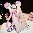 Cute Luxury Bling Diamond Rhinestone Ear Ring Holder Stand Soft Strap Case Cover