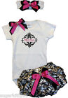 Personalized Infant Baby Onezee, Diaper Cover, HB Satin Damask Pink Free Ship