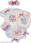 "Personalized Baby Girl Onezee,Bib, Booties, Bloomer, HB & Bow ""So Hot"""