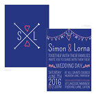 Personalised day/evening wedding invitations CORAL NAVY BOHEMIAN BOHO ARROWS FRE