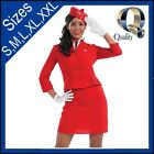 Womens Classic Red Air Hostess Flight Attendant Dress Costume