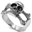 Stainless Steel Black Oxidized Crossbones Pirate Skull Good Luck Ring Size 8-15