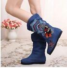 New Womens Mid Calf Boots Floral Flat Casual Embroidery High Demin Shoes zy