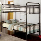 Dark Bronze Metal Construction Twin/Twin Full/Full Bunk Bed w/ Attached Ladder