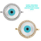 Cubic Zirconia Crystal Evil Eye Bracelet connector Charm Paved Plated 2pcs