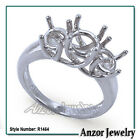 14k Solid White Gold 3 Stone Trellis Ring Setting in Sizes 4 to 9.5 #R1464