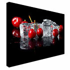 Fresh Cherries With Ice Cubes Canvas Wall Art prints high quality